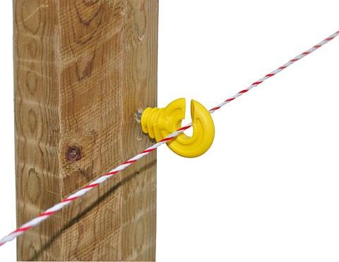 Isolatori recinzioni elettriche ad anello giallo con sostegno corto