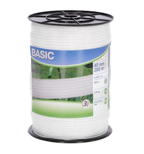 Nastro 40 mm recinto elettrico Basic acciaio inox 0.16 mm 441522 bianco