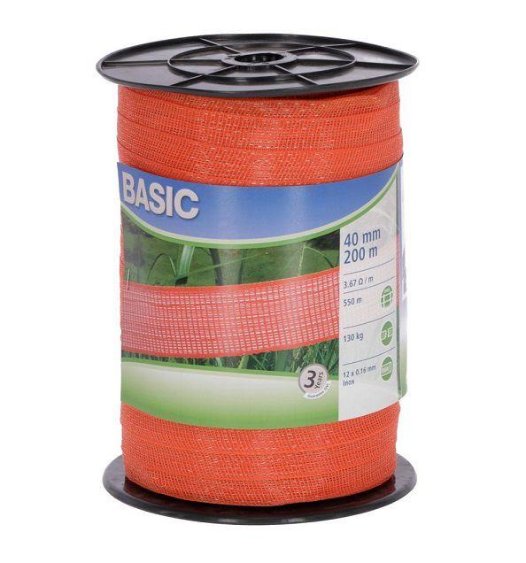 Nastro 40 mm recinto elettrico Basic acciaio inox 0.16 mm 441529 arancio