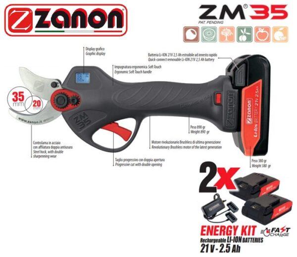 Forbice Zanon ZM 35 elettronica con 2 batterie